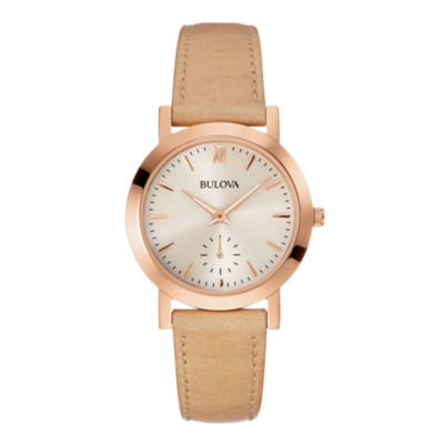 Bulova® Womens Brown Leather Strap Watch 97L146