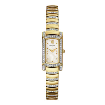 Bulova® Womens Crystal-Accent Gold-Tone Stainless Steel Bracelet Watch 98L204