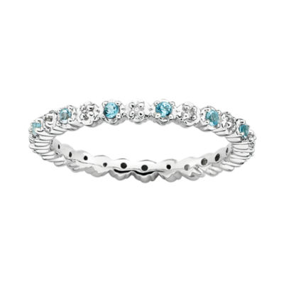 Personally Stackable Genuine Blue Topaz & Diamond-Accent Eternity Ring