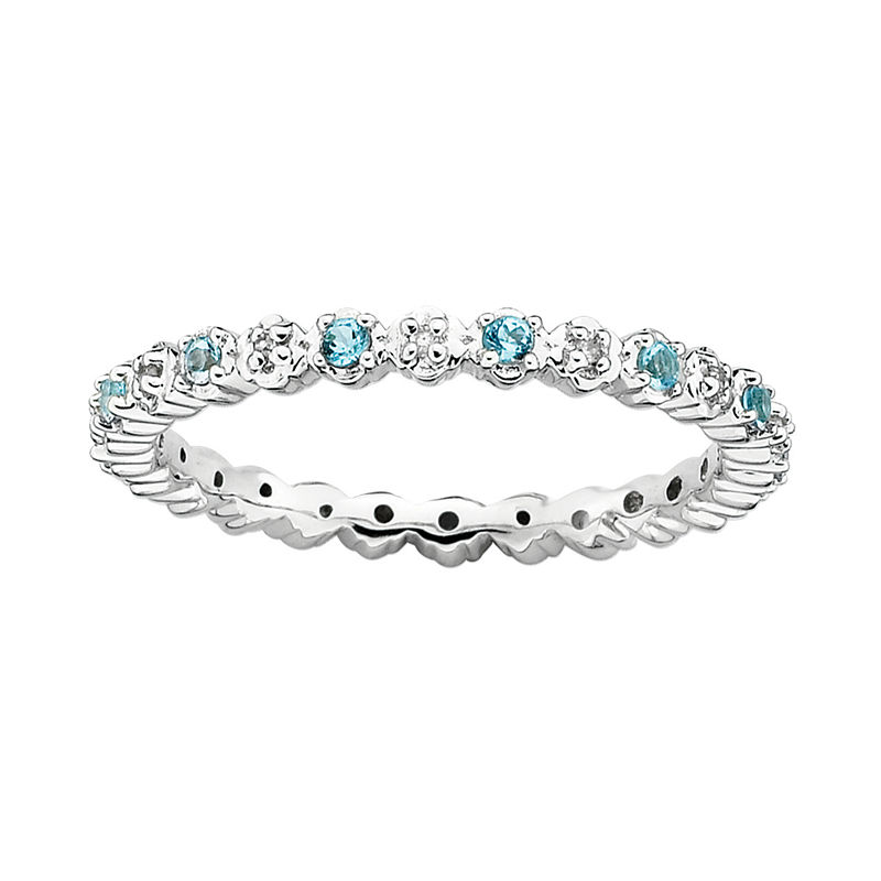image of Personally Stackable Genuine Blue Topaz & Diamond-Accent Eternity Ring-pp5004630154