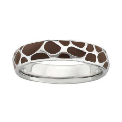Personally Stackable Sterling Silver Giraffe Print Enamel Stackable Ring