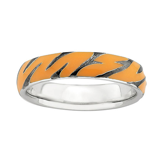 Personally Stackable Sterling Silver Tiger Print Enamel Stackable Ring