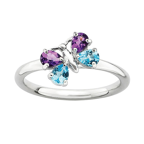 Personally Stackable Genuine Blue Topaz & Amethyst Butterfly Ring