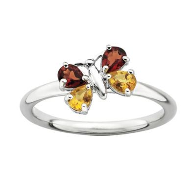 Personally Stackable Genuine Citrine and Garnet Butterfly Ring