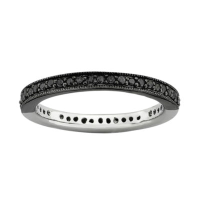 Personally Stackable 1/3 CT. T.W. White and Color-Enhanced Black Diamond Ring