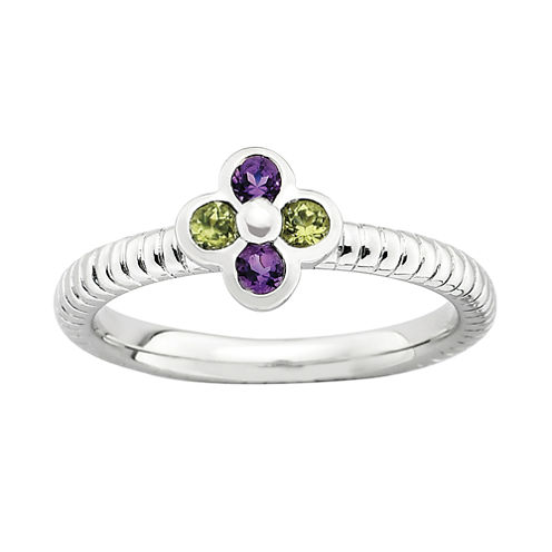 Personally Stackable Genuine Amethyst & Peridot Flower Ring