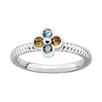 Personally Stackable Genuine Blue Topaz & Citrine Flower Ring