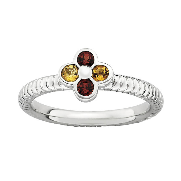 Personally Stackable Genuine Garnet and Citrine Flower Ring