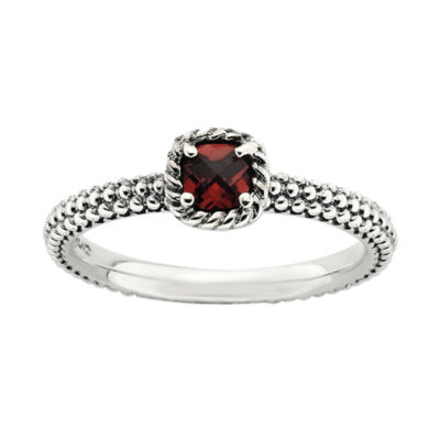 Personally Stackable Checker-Cut Genuine Garnet Ring