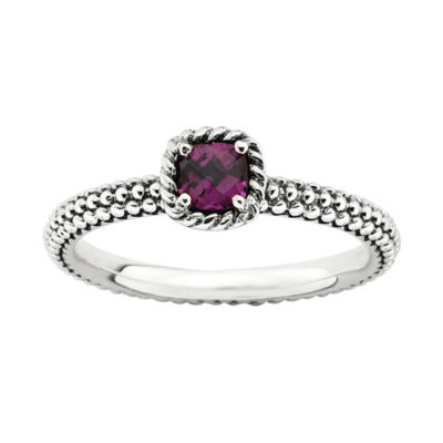 Personally Stackable Checker-Cut Genuine Rhodolite Ring