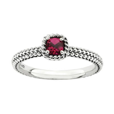 Personally Stackable Checker-Cut Lab-Created Ruby Ring