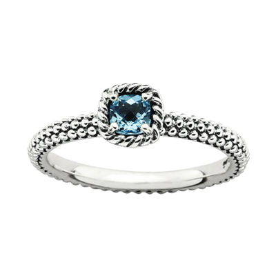Personally Stackable Checker-Cut Genuine Blue Topaz Ring
