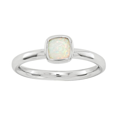 Personally Stackable Lab-Created Cushion-Cut Opal Ring