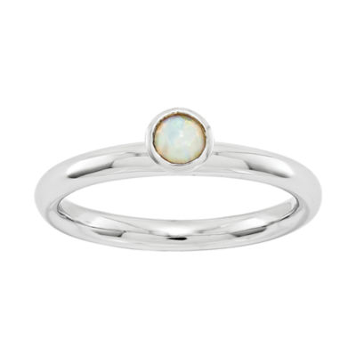 Personally Stackable Lab-Created Opal Ring