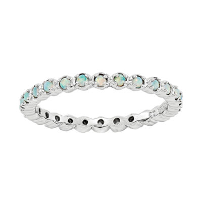 Personally Stackable Lab-Created Opal Eternity Ring