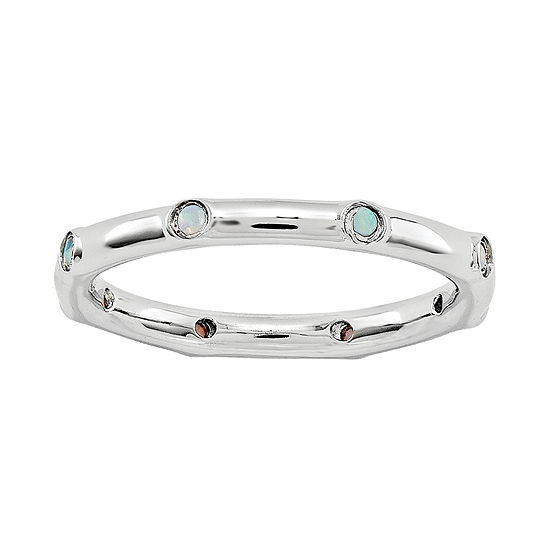 Personally Stackable Lab-Created Opal Station Ring