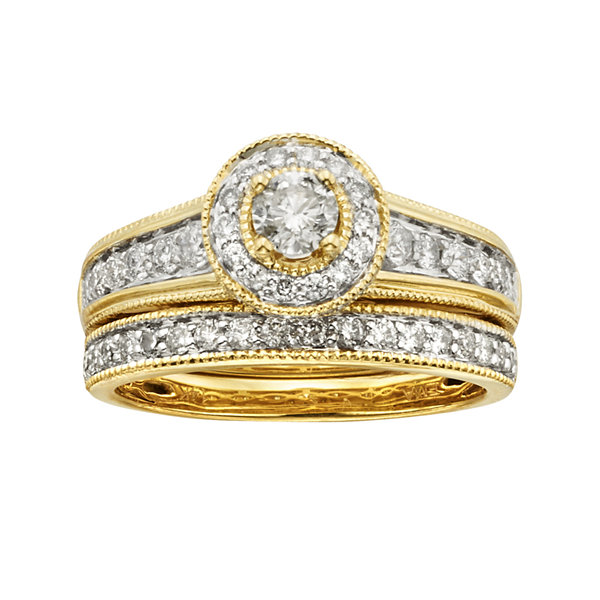 T.W. Certified Diamond 14K Yellow Gold Bridal Ring Set