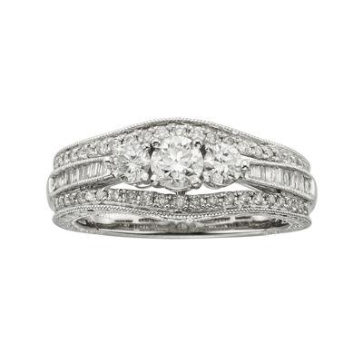 1 CT. T.W. Certified Diamond 14K White Gold Vintage-Style 3-Stone Contour Bridal Ring
