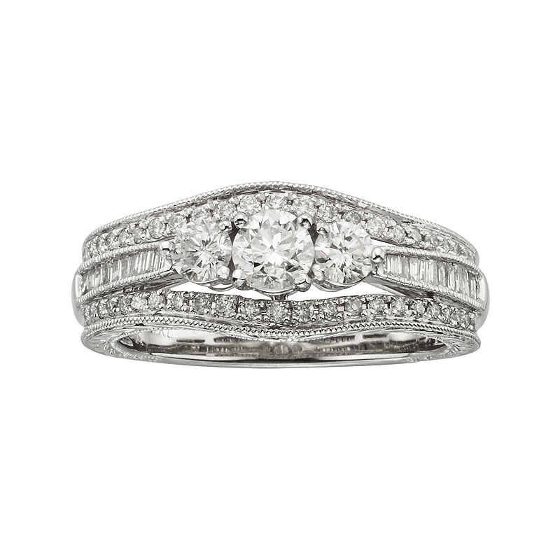 1 CT. T.W. Certified Diamond 14K White Gold Vintage-Style 3-Stone Contour Bridal Ring