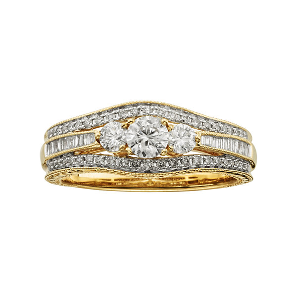 1 CT. T.W. Certified Diamond 14K Yellow Gold Vintage-Style 3-Stone Contour Bridal Ring