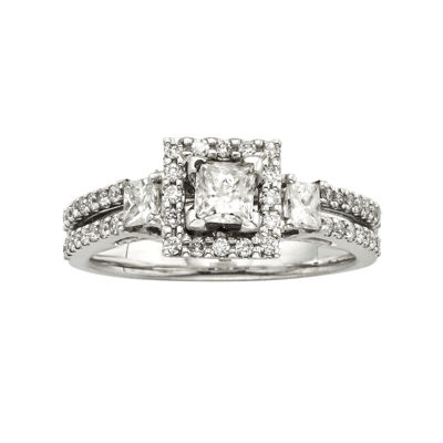 1 CT. T.W. Certified Diamond 14K Two-Tone Gold 3-Stone Bridal Ring