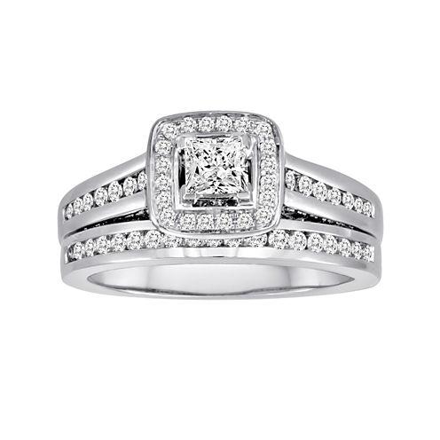 1 CT. T.W. Certified Diamond 14K White Gold Bridal Ring Set