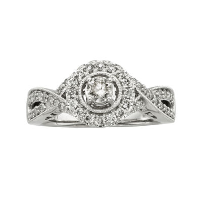 3/4 CT. T.W. Certified Diamond 14K White Gold Vintage-Style Bridal Ring