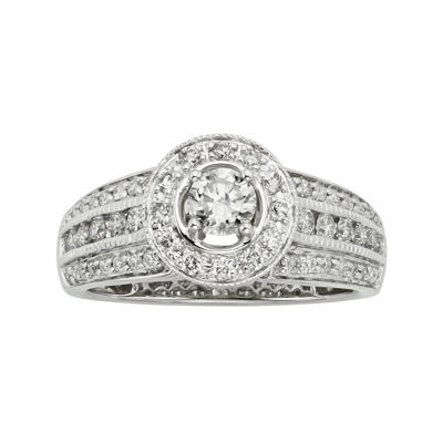 1 CT. T.W. Certified Diamond 14K White Gold Vintage-Style Bridal Ring