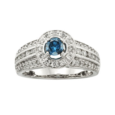 1 CT. T.W. Certified White and Color-Enhanced Blue Diamond 14K White Gold Bridal Ring