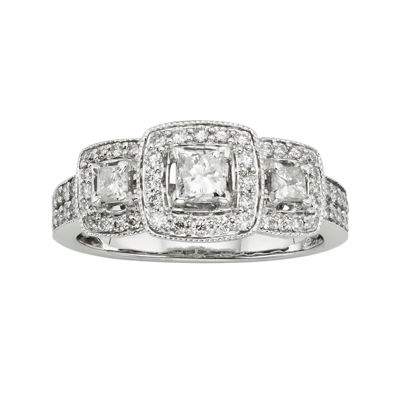 1 CT. T.W. Certified Diamond 14K White Gold 3-Stone Bridal Ring