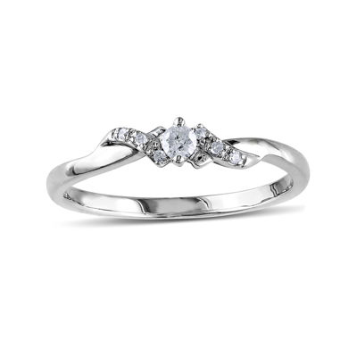 1/10 CT. T.W. Diamond 10K White Gold Bypass Bridal Ring