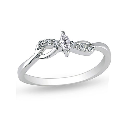 1/10 CT. T.W. Diamond 10K White Gold Marquise Bridal Ring