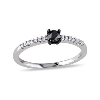 1/4 C.T. T.W. White and Color-Enhanced Black Diamond 10K White Gold Promise Ring
