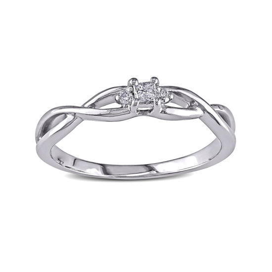 Diamond-Accent 10K White Gold Twist Bridal Ring
