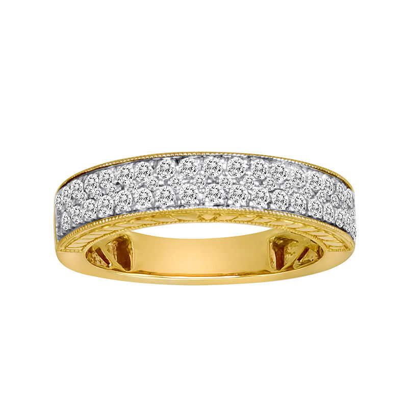 1/2 CT. T.W. Certified Diamond 14K Yellow Gold Vintage-Style Wedding Band plus size,  plus size fashion plus size appare