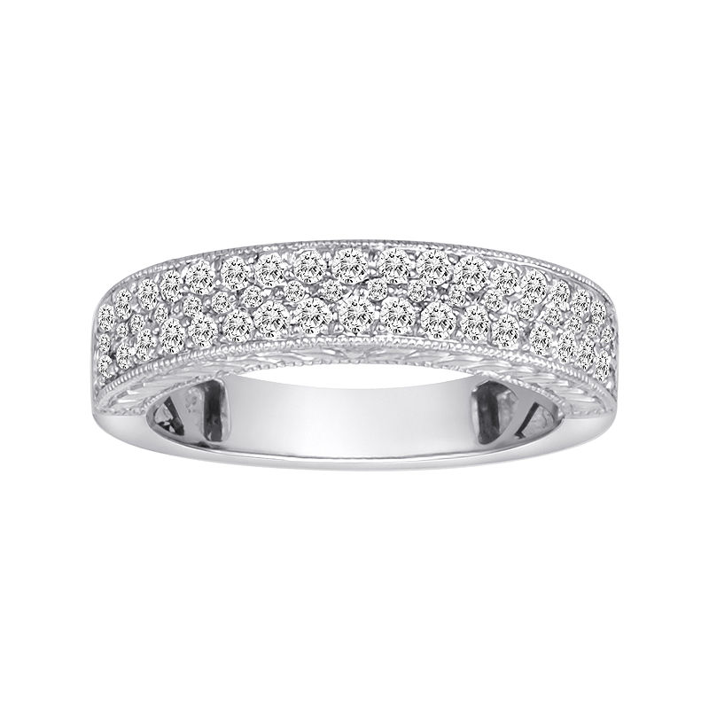 1/2 CT. T.W. Certified Diamond 14K White Gold Vintage-Style Wedding Band plus size,  plus size fashion plus size appare