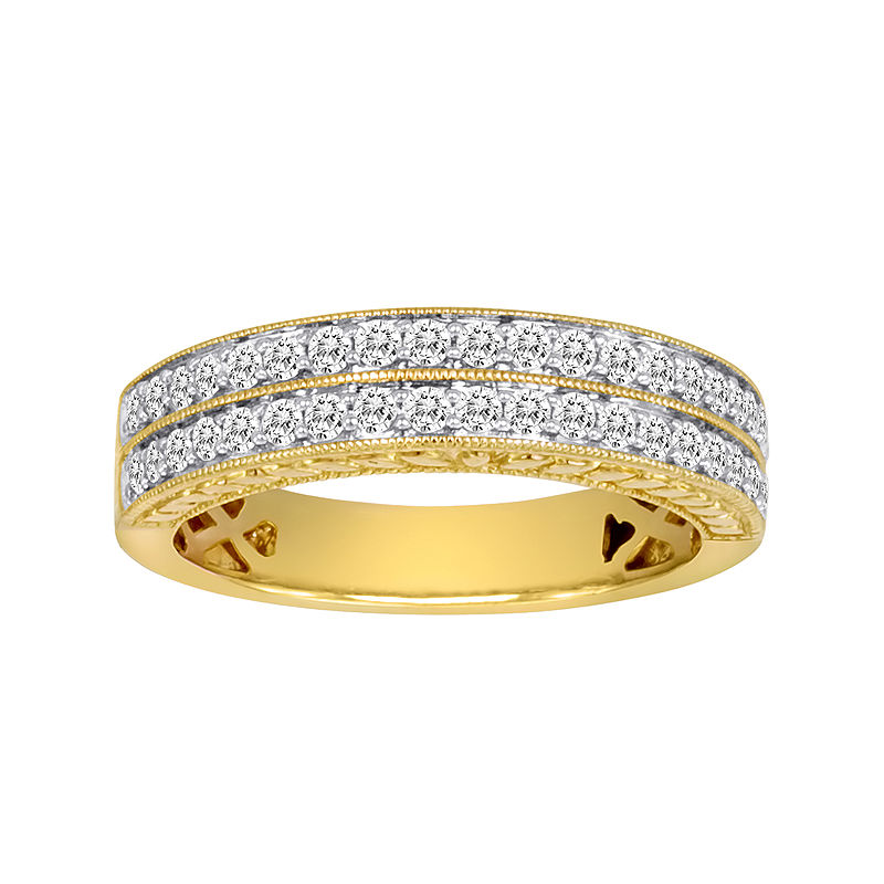 1 CT. T.W. Certified Diamond 14K Yellow Gold Vintage-Style Wedding Band plus size,  plus size fashion plus size appare
