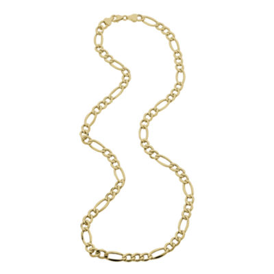 """Made in Italy  Mens 14K Yellow Gold 22"""" Hollow Figaro Chain Necklace"""