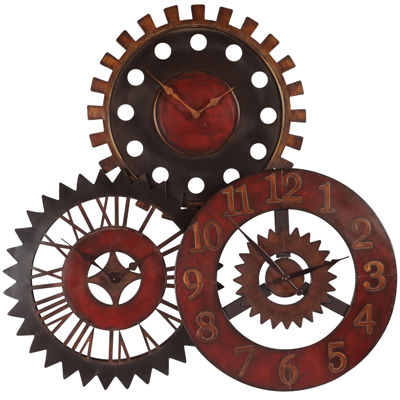 "Oversized 35.25"" Rusty Movement Metal Wall Clock"