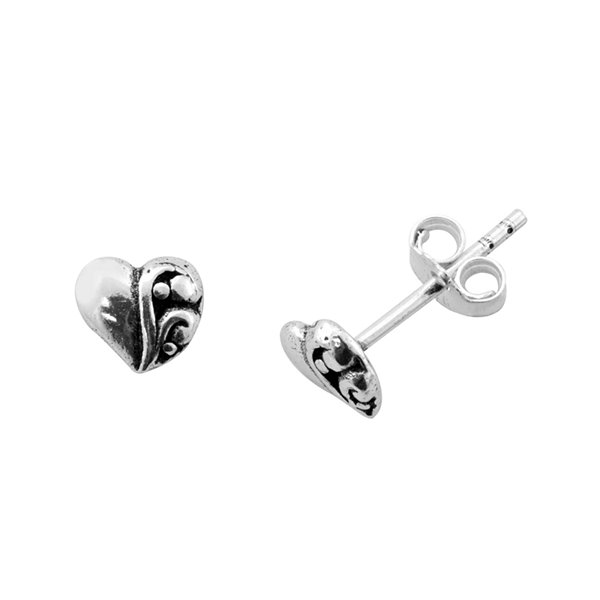 Itsy Bitsy Sterling Silver Heart Stud Earrings