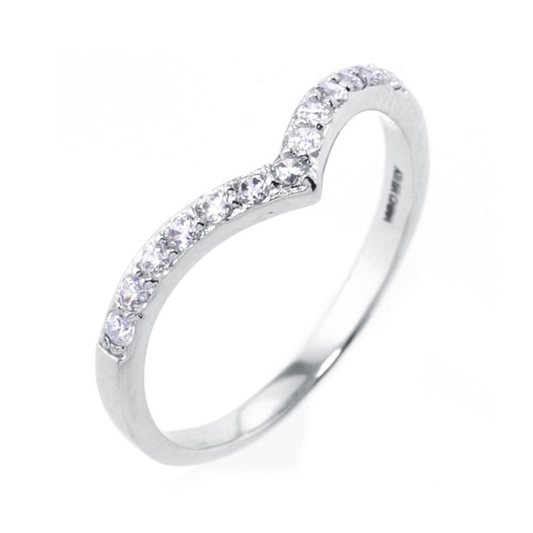 Sparkle Allure White Crystal Chevron Cocktail Ring