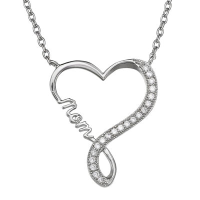 Silver Enchantment™ Cubic Zirconia Heart Infinity Mom Pendant Necklace