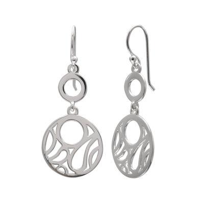 Sterling Silver Cutout Circular Drop Earrings