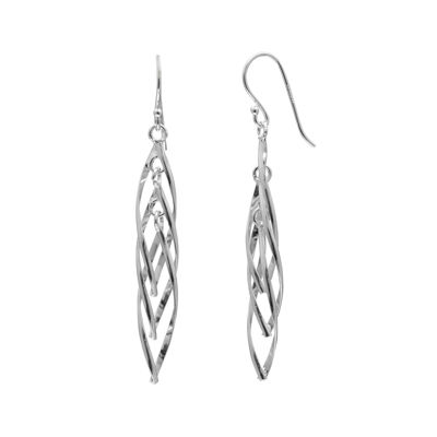 Sterling Silver Twisted Linear Earrings