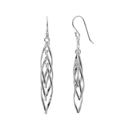 Sterling Silver Twisted Linear Earrings