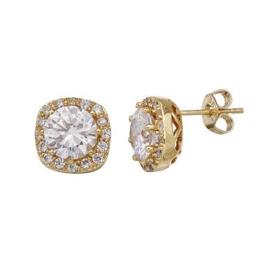 Cubic Zirconia 14K Gold-Plated Brass Drop Earrings