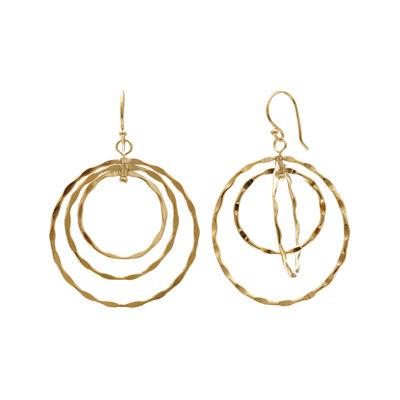 Silver Reflections™ 14K Yellow Gold Over Brass Triple-Hoop Earrings