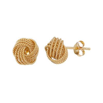 14K Yellow Gold Over Brass Love Knot Stud Earrings