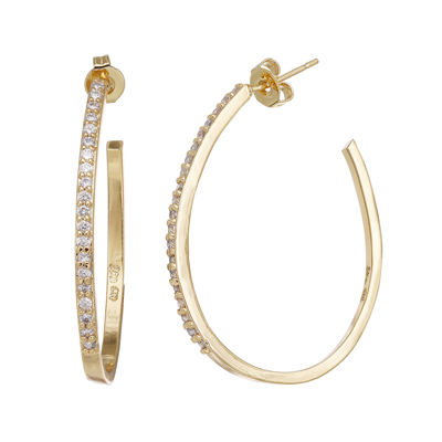 Cubic Zirconia 14K Gold-Plated Brass Hoop Earrings