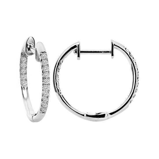 T W Diamond Hoop Earrings